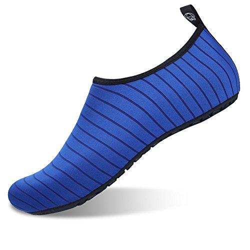 JIASUQI Damen Outdoor Athletic Turnschuhe Wasser Haut Schuhe Socken Für Strand Zu Fuß Schwimmen Blauer Streifen, 36/37 EU -
