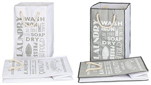 TOPP4u 2er Set Wäschekorb, Wäschesammler weiß & grau, 2 tolle LAUNDRY Designs, faltbarer Wäschesack 45 Ltr, 30x30x50 cm, langlebige, praktische Wäschebeutel  (4 Faltbare Stoff Baskets)