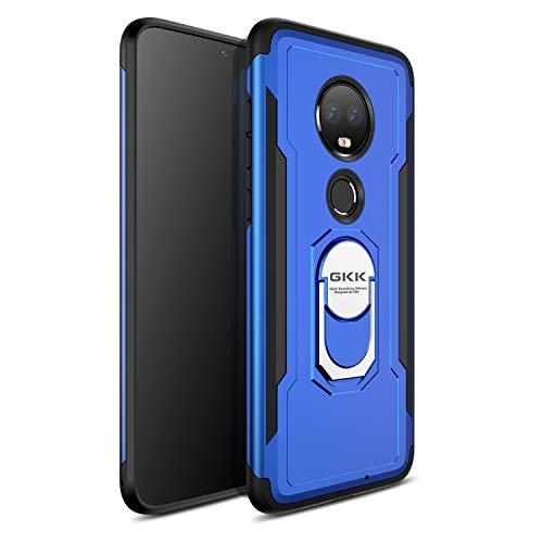 ruiyoupin Hülle kompatible mit Motorola Moto G7, Silikon Stoßfest Schutzschicht Handyhülle Verstärkte Ecken mit Standfuß Heavy Duty Armor Shockproof Case Schutzhülle for Moto G7 (Blau) (Motorola Heavy-duty-handy)