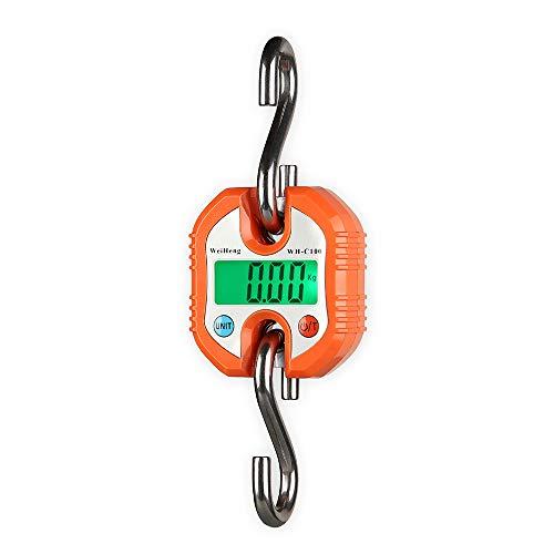 Decdeal Weiheng Kranwaage Digitale Gepäckwaage Kofferwaage Küchenwaagen 3 Wägeeinheiten Zweiteiliger Wert (0-100kg / 50g, 100-150kg / 100g, Orange)