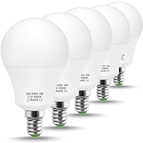 JandCase LED-Leuchtmittel, entspricht 60 W, LED-Glühlampen, warmweiß 3000K, weiße A60 Glühbirne, 9 W, E14 kleiner Edison-Sockel, LED-Leuchtmittel für Zuhause, nicht dimmbar, 5 Stück -