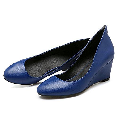 TAOFFEN Femmes Compense Escarpins Confortable A Enfiler Travail Chaussures Bleu