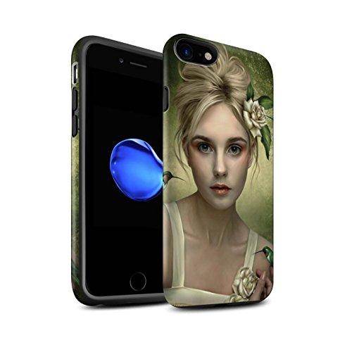 Officiel Elena Dudina Coque / Matte Robuste Antichoc Etui pour Apple iPhone 8 / Âmes Blanches/Des Bois Design / Les Oiseaux Collection Colibries/Des Roses