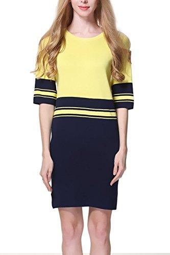 Mezza manica Color Block donna vestito maglione maglia Yellow F