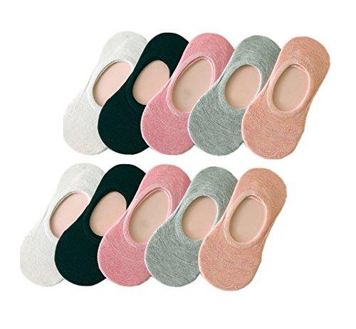 UMIPUBO 10 Pares Calcetines para Mujer Invisibles De Algodón Calcetines Cortos Elástco Con Silicona Antideslizante Anti-olor (A)
