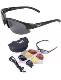 Mile High 'Cruise Black' schwarz Sonnenbrille für Piloten (Fliegerbrille) und Sport mit Wechselgläser (gelb, rot und grau verspiegelt). UV schutz 400. Für Herren und Damen