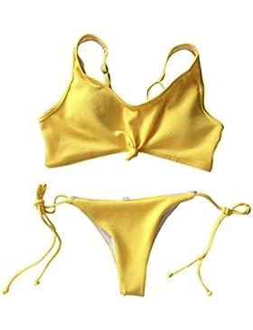 Traje de baño bikini mujeres Push-Up acolchado baño de playa Tankini sujetador conjunto