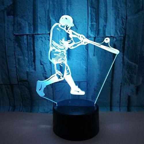 Lightlv Nachtlichter & Schlummerleuchten Baseball 3D Spielen Führte Buntes Nachtlicht Eingebaute Kleine Tischlampe Des Kleinen Tischlampe Des Kreativen Geschenks Des Acryls-Crack