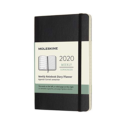Moleskine Agenda 12 Mesi Settimanale Verticale 2020, Copertina Morbida e Chiusura ad Elastico, Colore Nero, Dimensione Pocket 9 x 14 cm, 144 Pagine