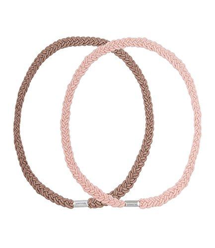 SIX Festival 2er Set Doppelpack doppelt geflochtene Haarbänder Kopfband in Braun und Nude/Rosa (252-846)