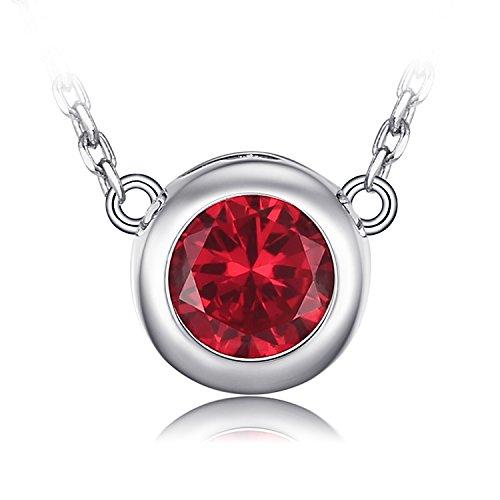 JewelryPalace Solitaire 1.8ct Round Erstellt Rubin Halskette 925 Sterling Silber 18 Zoll