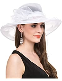 LUCKY Leaf Sombrero Encantador de la Iglesia de Organza de la Mujer Sombrero Borde Ancho Floral Encantador para Fiesta de Tarde