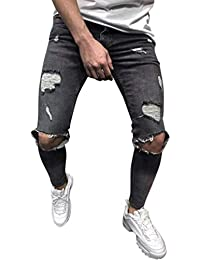 Pantaloni Uomo Jeans Lunghi Neri Jeans Strappati Aderenti Casual Moderna Slim  Fit Uomo Jeans Strappati Jeans cd197262f924
