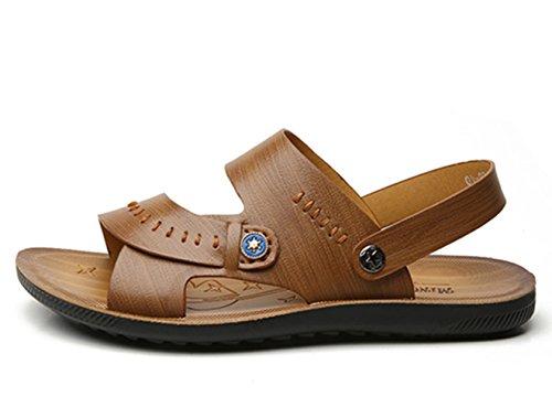 Icegrey Herren Leder Strand Sandalen Mit Stichdetails Freizeit Hausschuhe Outdoor Sommer Strand Pantolette Khaki