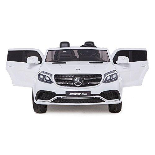 Mondial Toys AUTO ELETTRICA PER BAMBINI 2 POSTI SUPER SUV 2X BATTERIE 12V 4X MOTORE MERCEDES-BENZ GLS63 AMG 4X4 AWD CON SEDILE IN PELLE RUOTE IN GOMMA TELECOMANDO BIANCA