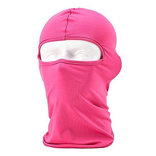 Sports de plein air Masque de Cagoule coupe-vent Full Face cou Headgear Chapeau d'équitation randonnée Casquette de cyclisme Masque rose fuchsia