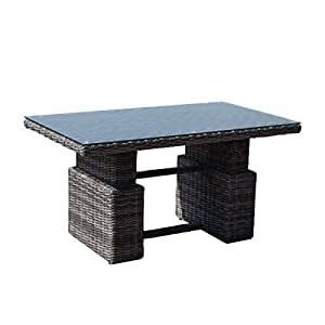 greemotion rattan table bari height adjustable outdoor lounge table with glastop in wicker. Black Bedroom Furniture Sets. Home Design Ideas