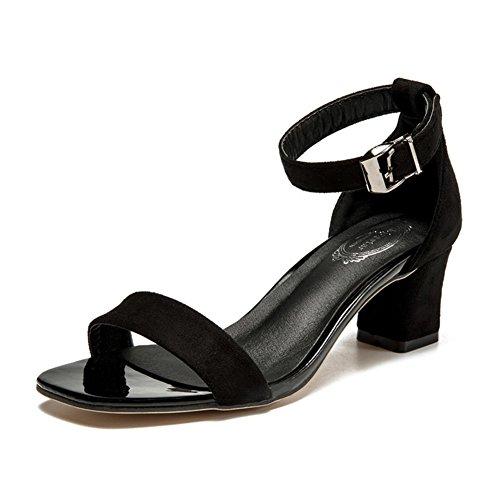 Sandales Femme , Talons Rugueux ,Chaussures Européennes Et Américaines,Creux Un Mot Avec Des Chaussures, Talons Daim Noir A