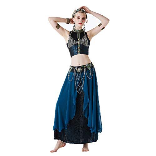 CX Bauchtanz-Kostüm Frauen, Set Tribal Style Sexy Dance Kleidung Performance-Kleidung Dreiteilig (Farbe : Lake Blue, größe : M)
