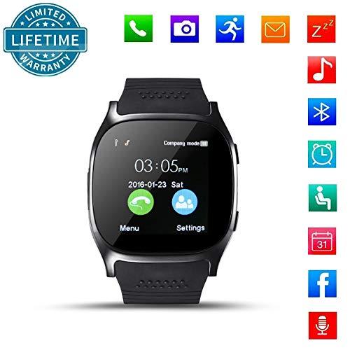 KeepGoo Orologio Smart Bluetooth con SIM Card Slot, Smartwatch Android iOS per iPhone Huawei Xiaomi, Orologio da polso con lettore musicale della fotocamera Facebook Whatsapp Sync Chiamata SMS(Nero)