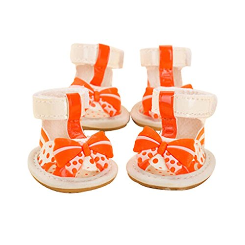 Large Size Orange Dogs Boots with Bow Tie Decoration Pets Shoes