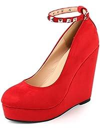 AgeeMi Shoes Mujers Zapatillas Cuña Tacon Alto Clásicos Verano Suede Zapatos