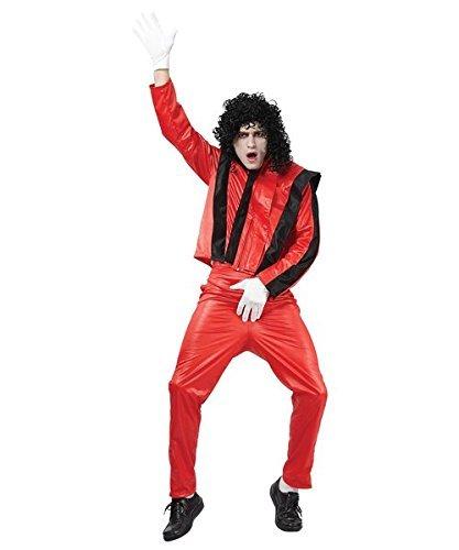 ERWACHSENE HERREN ROT POP SUPERSTAR MICHAEL JACKSON KOSTÜM - EINHEITSGRÖßE PASST (Jackson Kostüme Michael Erwachsene)