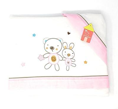 PIRULOS-Sabanas invierno Franela CUNA 60X120 - (bajera+encimera+funda almohada) Friends blanco-rosaage rosa