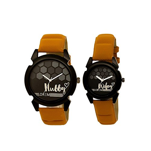 Snapcrowd Analogue Couple Watch with Hubby-Wifey Printed Dial & Brown Belt Analogue Couple Watch Combo