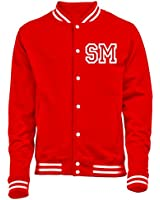 PERSONALISED COLLEGE JACKET WITH FRONT INITIAL PRINT (RED) NEW PREMIUM TOP Unisex American Style Letterman Varsity Baseball Custom Gift Present Quality AWD - by 123t