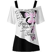 BBring Damen Schulterfrei T-Shirt Sommer Mode Schmetterling Druck Kurzarm Oberteile Bluse