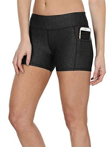 icyzone Damen Tights Shorts Sport Kurze Hosen - Laufshorts Fitness Yoga Leggings (S, Black)