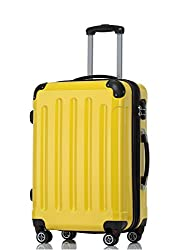 BEIBYE Hartschalen Koffer Trolley Rollkoffer Reisekoffer 4 Zwillingsrollen Polycabonat (Gelb, Handgepäck 55cm-40L)