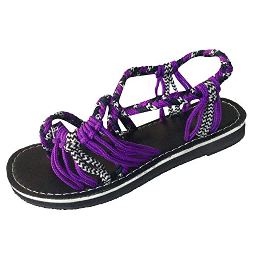 LILIHOT Frauen Hausschuhe Hanfseil Flip Flops Sandalen Sommermode Römischen Strand Schuhe Damen Pantoletten Sommer Schuhe Slippers Strand Komfort Sandalen Leinen Flache