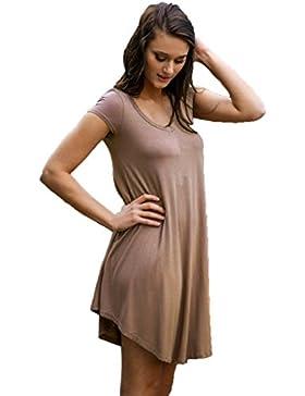 Ularma Vestido de playa de la mujer, tallas grandes, vestido Casual manga corta sólida