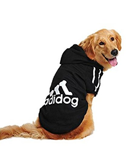 UUstar® Hundekleidung für kleine und große Hund (S bis 9XL) fünf Farben HundeHoddie (8XL, Schwarz)