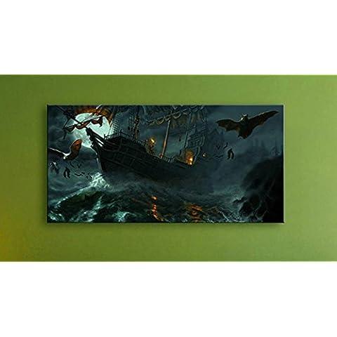 XYXY Brillante LED luces fibra Mural colgante pintura hogar y decoración - sección del mar pintura de paisaje . b . 40*40