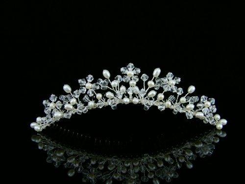 Venus Jewelry Damen Handmade Süßwasser-Perlen Kristall Perlen Blumen Brautschmuck Hochzeit Tiara Kamm–Silber vergoldet Minipumpe