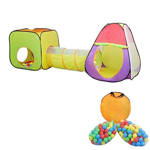 MC Star Plegable de Niños de la Tienda de Campaña Pop-up Parque Infantil Interior y Exterior Juegos de Niños y Niñas Túnel de Juguete Casa y Piscina 3 Partes +200 Oceano Bolas