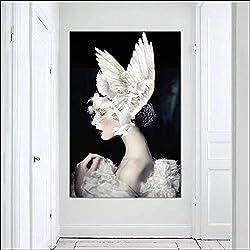 JNZART Vogel Mädchen Bilder Flügel Leinwand Malerei Wandkunst Für Wohnzimmer Leinwand Nordic Poster Drucken A 50x70CM