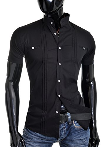 D&R Fashion Shirt uomini con manica corta nonno collare e decorativi linee verticali Nero