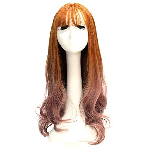 SJZV Mädchen Perücke Langes lockiges Haar Färben Lange Glatte Haare Große Welle Realistisch Flauschig Gesicht reparieren Blondine