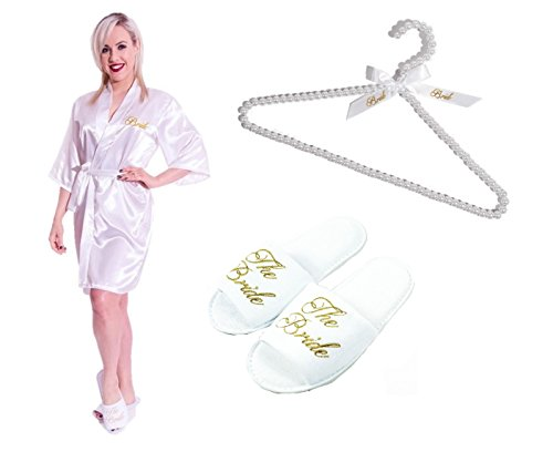 Set Includes Kimono Dressing Gown, Slippers & Pearl Beaded Hanger (Dressing Für Ein All White Party)
