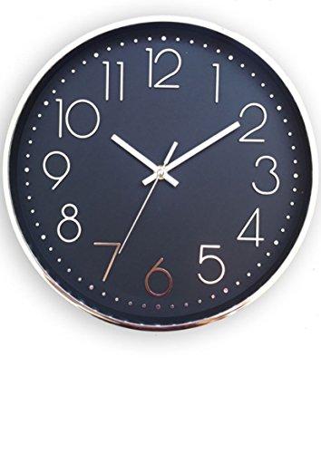 kontarboor reloj péndulo pared silencioso, diámetro 30cm números y marco color plata