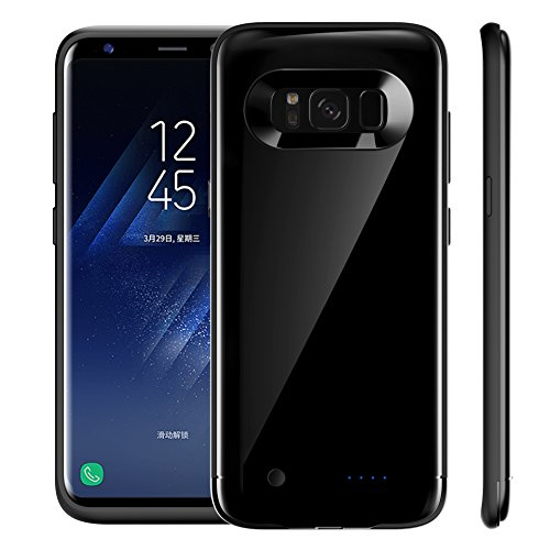 Casewin Custodia Batterie per Samsung Galaxy S8 Plus, 5200mAh Li-Polymer Cover Protettiva Ricaricabile Caricabatterie Chargerp Power Bank Case - Nero Lucido
