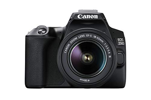 Canon EOS 250D (24,1 Megapixel, display orientabile da 7,7 cm (3 pollici), sensore APS-C, 4K, Full HD, DIGIC 8, WLAN, Bluetooth), Nero, con obiettivo EF-S 18-55 mm f/3.5-5.6 III, nero