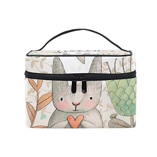 Atemberaubende süße Kosmetiktasche mit Hasen- und Schmetterlingsdesign, zum Aufhängen, tragbar, große Kapazität, für Reisen, Make-up, für Mädchen und Frauen