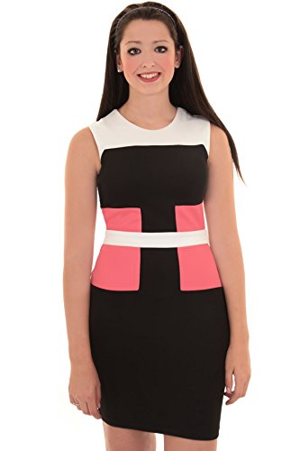 SAPHIR BOUTIQUE Damen Schlankmachend Effekt-Panel Kontrast Ärmellos Party Enganliegend  Enganliegendes Kleid Coral / Black