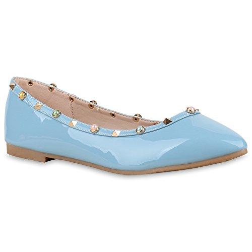 Klassische Damen Ballerinas Nieten Lack Schuh Spitze Schuhspitze Blau Nieten qDZLOuciZF