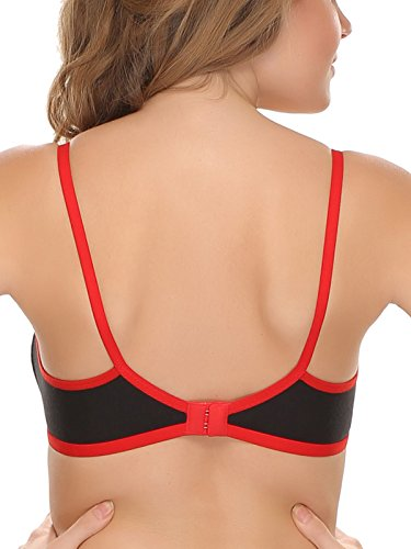 Clovia Pack Of 2 Cotton Non-Padded Wirefree T-Shirt Bra With Double Layers – Red & Skin